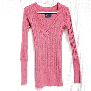 American Eagle coral color cotton blend sweater